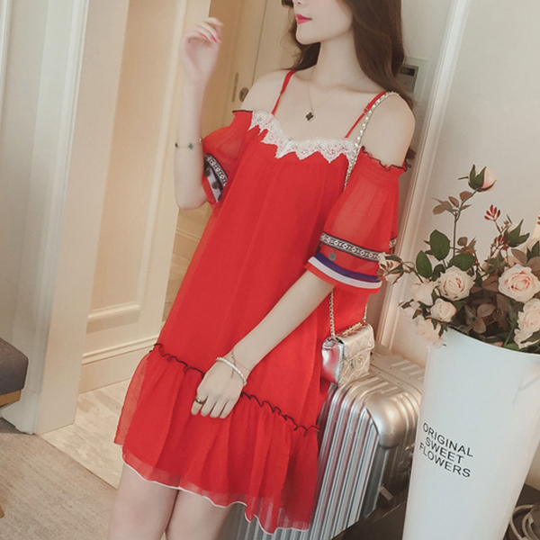 Cold Shoulder Chiffon Casual Beach Dress - Red