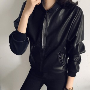 Zipper Round Neck PU Leather Casual Jacket - Black