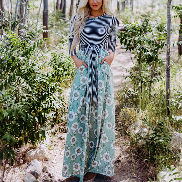 Striped Contrast With Floral Skirt Maxi Dress - Green