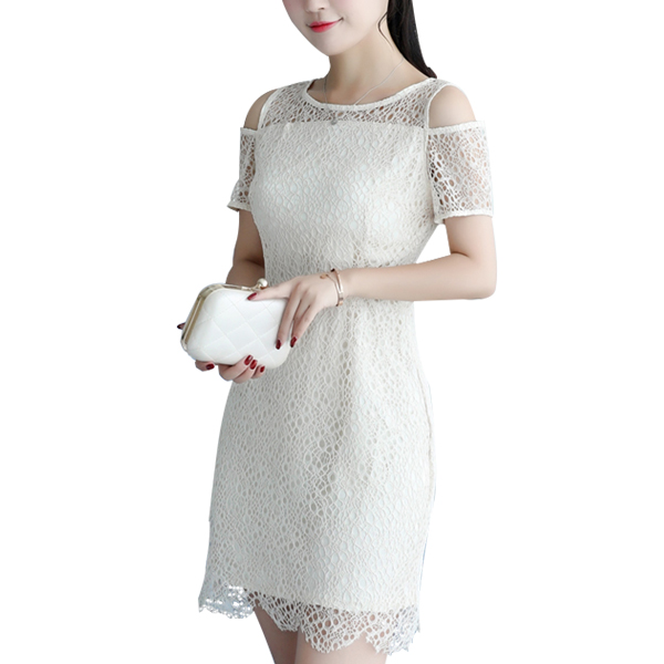 Short Sleeves Cold Shoulder White Lace A-Line Dress