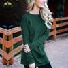 Textured Round Neck Loose T-Shirt - Green