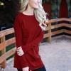 Textured Round Neck Loose T-Shirt - Burgundy