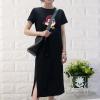 Short Sleeve Clothes Cartoon Printed Female Dress - Black
