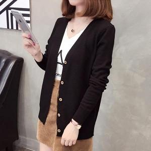 Long sleeves Loose Wool Plain Women Cardigan - Black