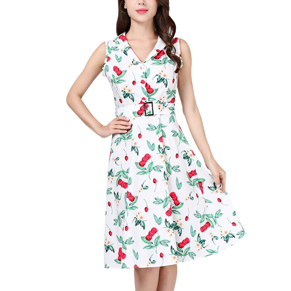 cherry printing retro swing casual vintage dress white