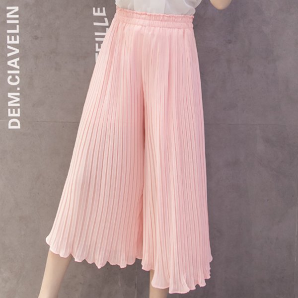 Ruffle Pleated Bell Bottom Bottom Trousers - Pink