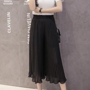 Pleated Elastic Waist Casual Wide Trouser Pants - Black