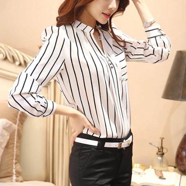 Black Lining Full Sleeves White Collar Shirt