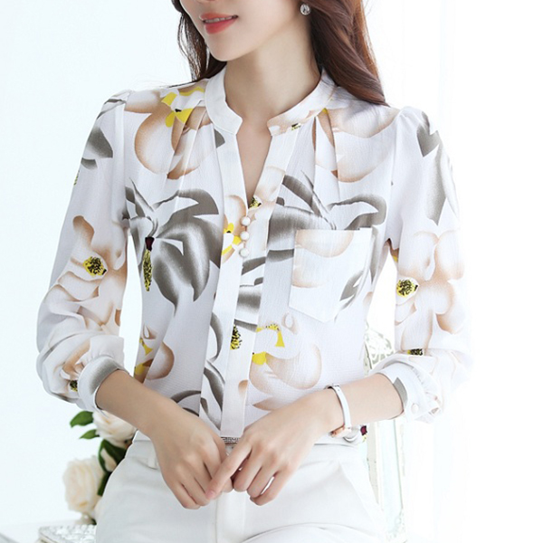 Summer Printed Full Sleeves Collar Short - Multi