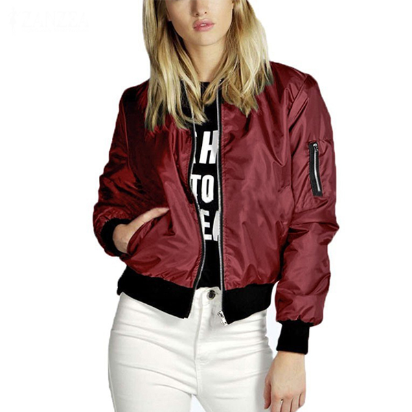 Long Sleeve Casual Stand Collar Slim Women Thin Jacket Burgundy