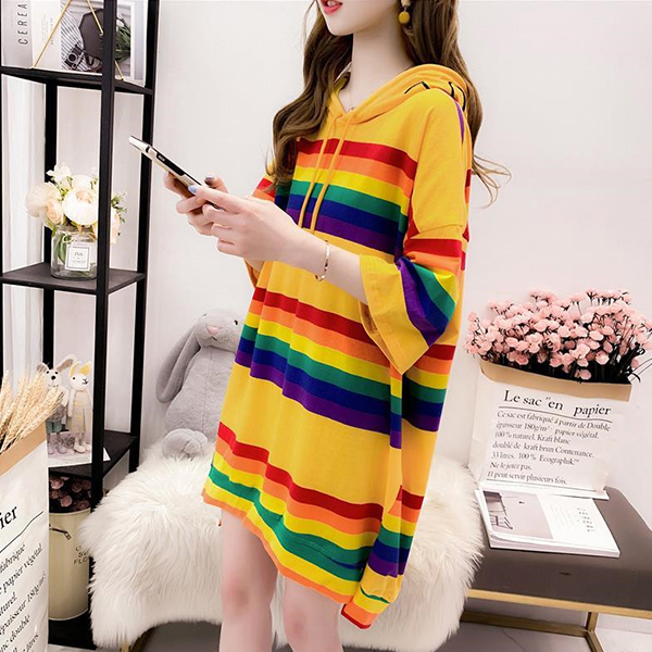 Rainbow Colorful Hoodie Neck Loose T-Shirt Dress - Yellow
