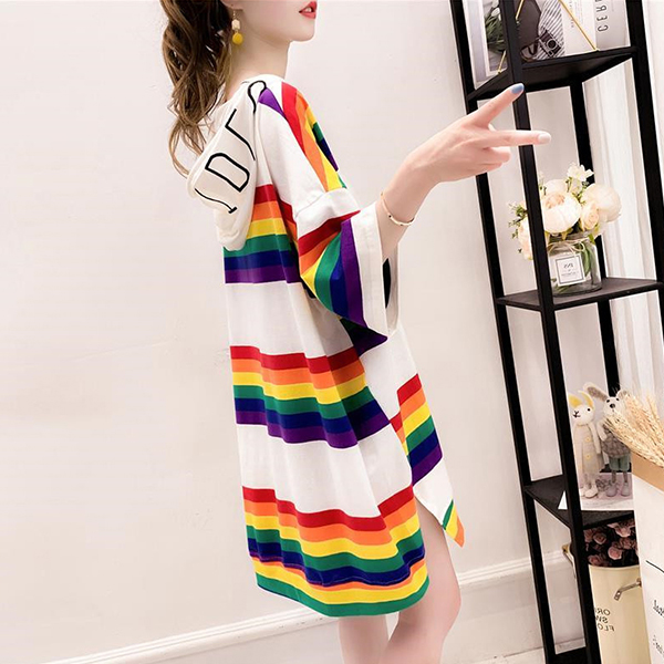 Rainbow Colorful Hoodie Neck Loose T-Shirt Dress - White