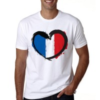 Heart Prints Colorful Round Neck Summer Men T-Shirt - White
