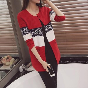 Slim Mid-length Contrast Knitted Women Cardigans - Red