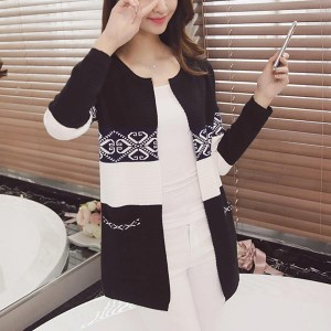 Slim Mid-length Contrast Knitted Women Cardigans - Black