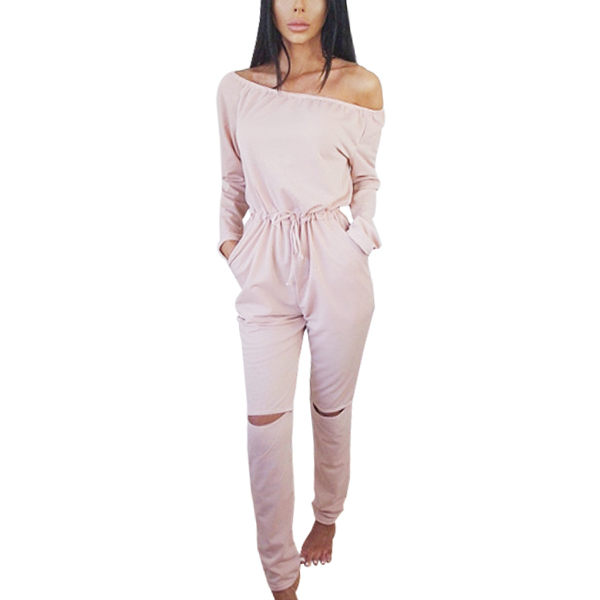 Full Sleeve Off Shoulder Long Pink Romper