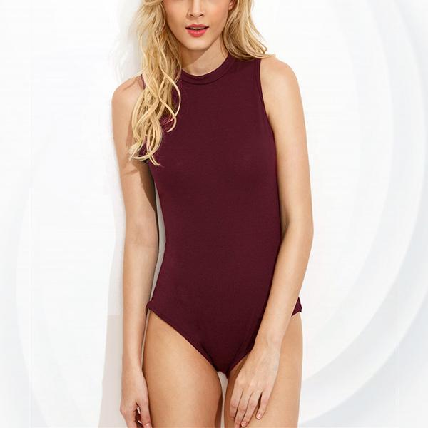 Sleeveless Round Neck Beach Wear Swimsuit - Red