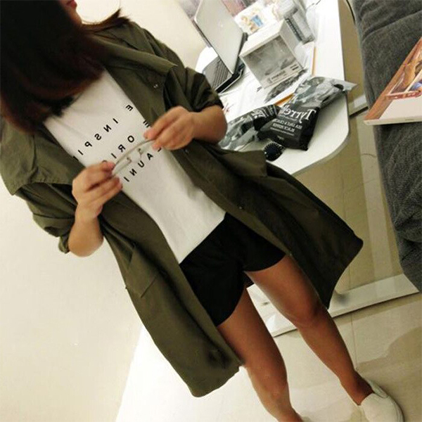 Autumn Casual Wear Loose Long Top Hoodie - Green