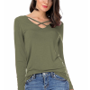 Cross Strap V Neck Long Sleeves Green T-Shirt