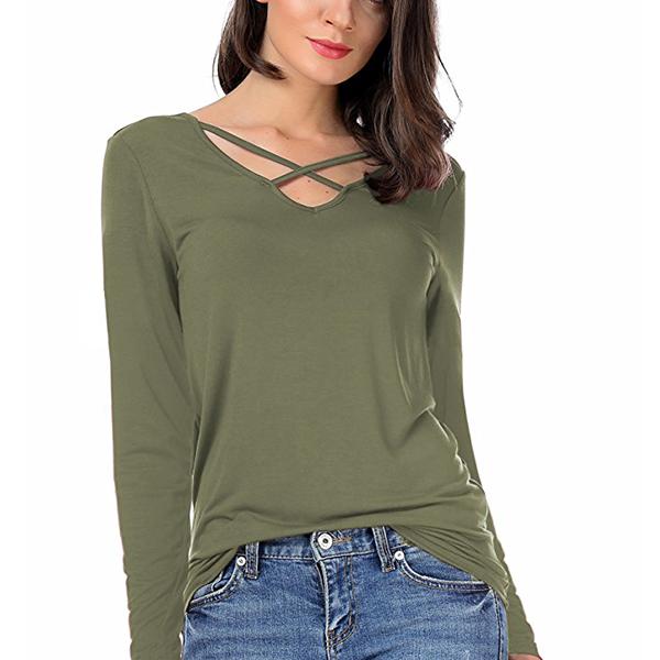 Cross Strap V Neck Long Sleeves Green T-Shirt