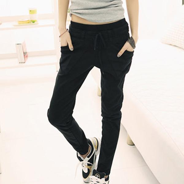 String Waist Elastic Casual Narrow Bottom Trousers - Black