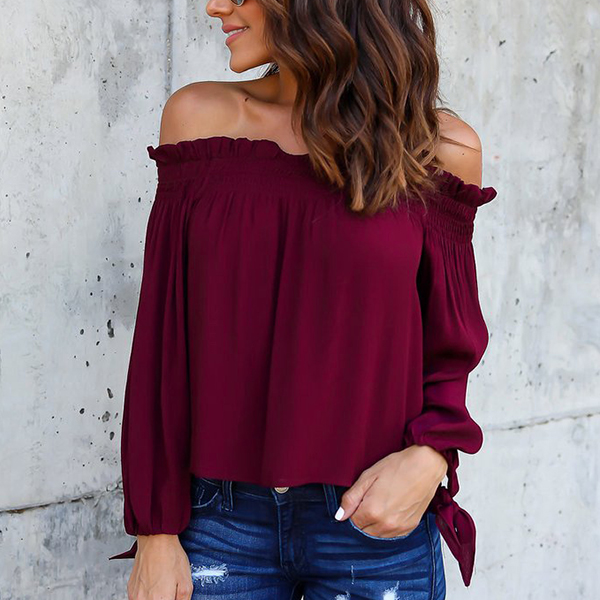 Off Shoulder Knot Long Sleeves Burgundy Top