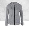 Black Zipper Closure Winter Hoodie Gray Top