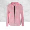 Black Zipper Closure Winter Hoodie Pink Top