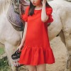 Frilled Hem Cross Strap Neck Mini Dress - Red