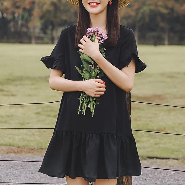 Frilled Hem Cross Strap Neck Mini Dress - Black