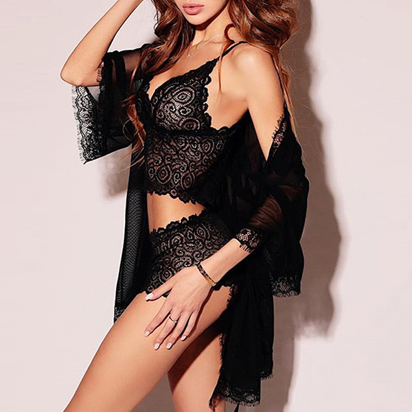Attractive Appeal Night Wear Lace Lingerie Set - Black