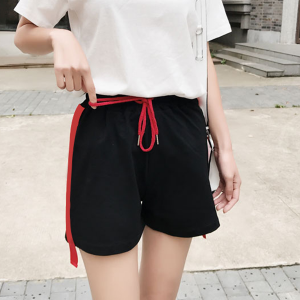 Waist String Red Striped Mini Shorts
