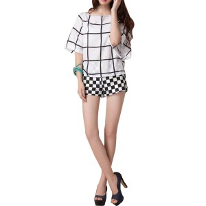 Casual Lattice Black And White Print Short Sleeve Shirt