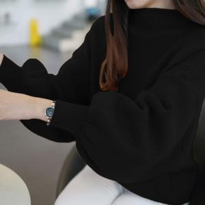 Party Wear Lantern Sleeve Solid Pattern Sweaters - Black