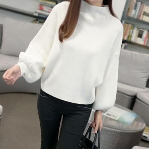 Party Wear Lantern Sleeve Solid Pattern Sweaters - White