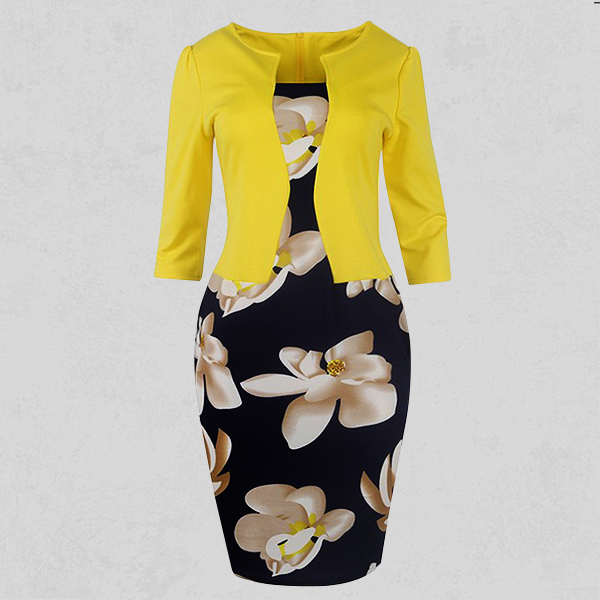 Floral Printed Skirt Contrast Dress - Yellow