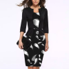 Fake Two Piece Quill Printed Pencil Skirt Dress