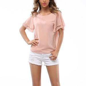 Western 2017 Dresses Chiffon Blouse Ladies Butterfly Sleeve Shirt