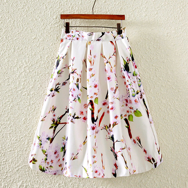 Floral Prints Pleated Mini Party Skirt - White