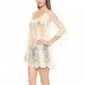 Dubai Women Off Shoulder Mesh Lace Sexy Beach Dress
