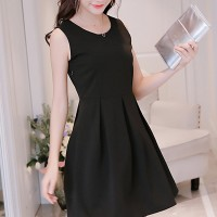Round Neck Sleeveless Mini Plain Dress - Black