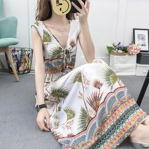 Sleeveless V Neck Printed Bohemian Beach Dress