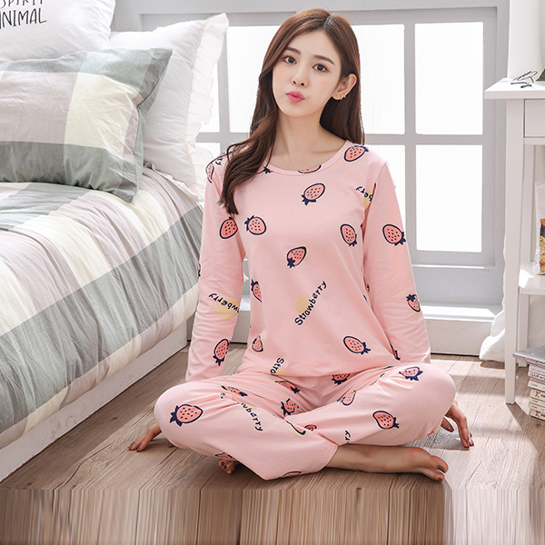 Strawberry Prints Round Neck Two Pieces Night Suit