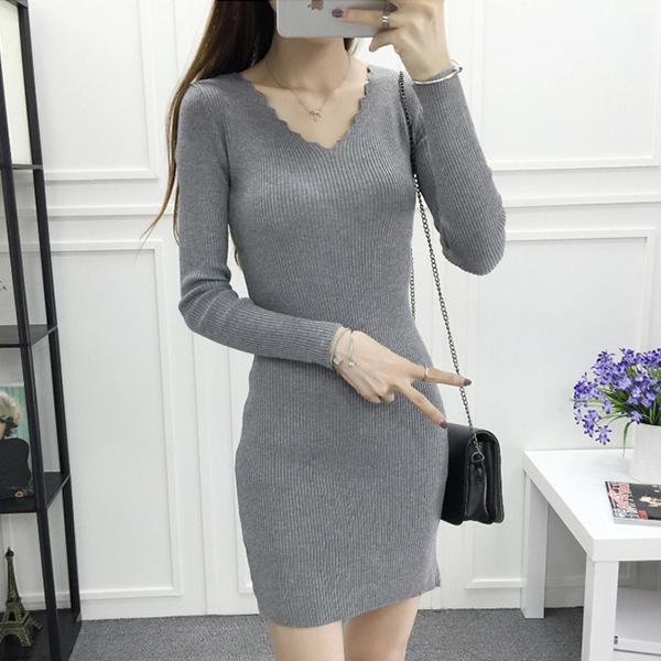 Wavy V Neck Straight Formal Office Wear Mini Dress - Grey