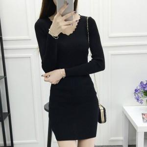 Wavy V Neck Straight Formal Office Wear Mini Dress