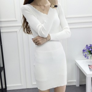 Wavy V Neck Straight Formal Office Wear Mini Dress - White