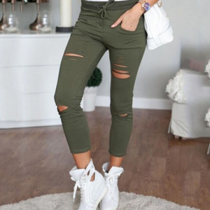 String Waist Ripped Pant - Green