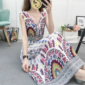 Multicolor Elastic Waist V Neck Beach Maxi Dress