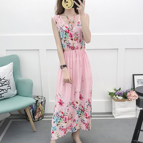 Printed Colorful Floral Beads Full Length Beach Dress
