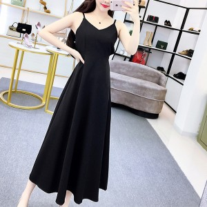 Solid Color Strap Shoulder Long Party Maxi Dress - Black